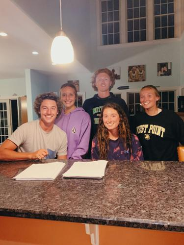 "Tommy and Ivy Bolle, Michael Sharkey, Mack McCracken, and Maddie McCracken (me) picking our 2019-2020 ""Live Like Bolle"" scholarship winners!"