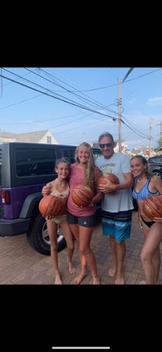 Basketballs were donated to the Step Back Foundation for our first 3v3 Tournament (2019).  Macie McCracken, Maddie McCracken (me), Dennis Dool, and Sophia Wilbur are featured in this picture.